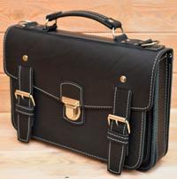 Оригинальный черный кожаный портфель