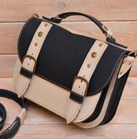 Контрастная двухцветная кожаная сумка