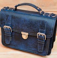 Мужской портфель из состаренной синей кожи