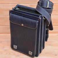 Вертикальный портфель из синей кожи