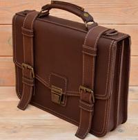 Оригинальный коричневый кожаный портфель