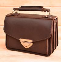 Корчневая женская сумочка на 3 отделения