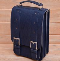 Синий вертикальный портфель