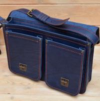 Синий кожаный портфель