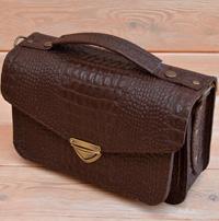 Женская сумочка под коричневую рептилию