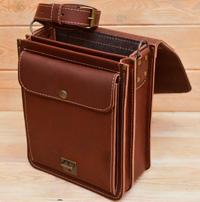 Кожаная сумка на 2 отделения коньячного цвета