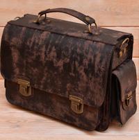 Портфель из состаренной кожи с боковыми карманами