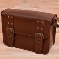 Вместительная коричневая  кожаная сумка