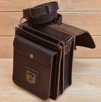 Лаконичная коричневая кожаная барсетка