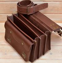 Коричневая кожаная сумка на 3 отделения