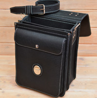 Вместительный черный вертикальный портфель