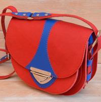 Позитивная сине-красная женская сумочка